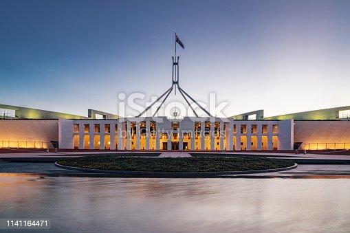 Australian Parliament House, the meeting place of the Parliament of Australia at Night - Twilight. Longtime exposure. Capital Hill, Canberra, Australian Capital Territory, Australia