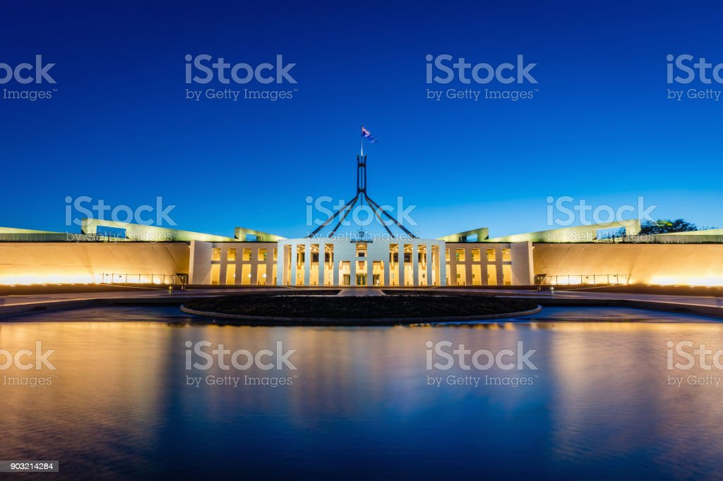 Canberra Australian Parliament House at Night stock photo