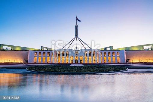 The Australian Parliament House, the meeting place of the Parliament of Australia at twilight,, night. Capital Hill, Canberra, Australian Capital Territory, Australia