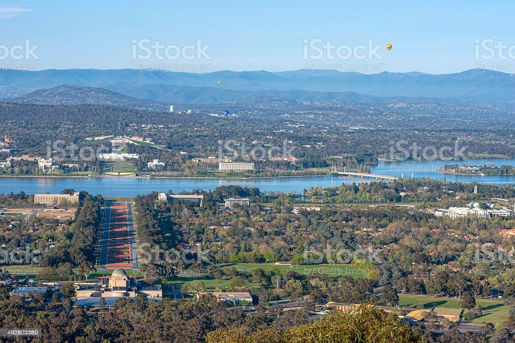 Canberra, capital, city, lake, hill, mountains, hot air balloon stock photo