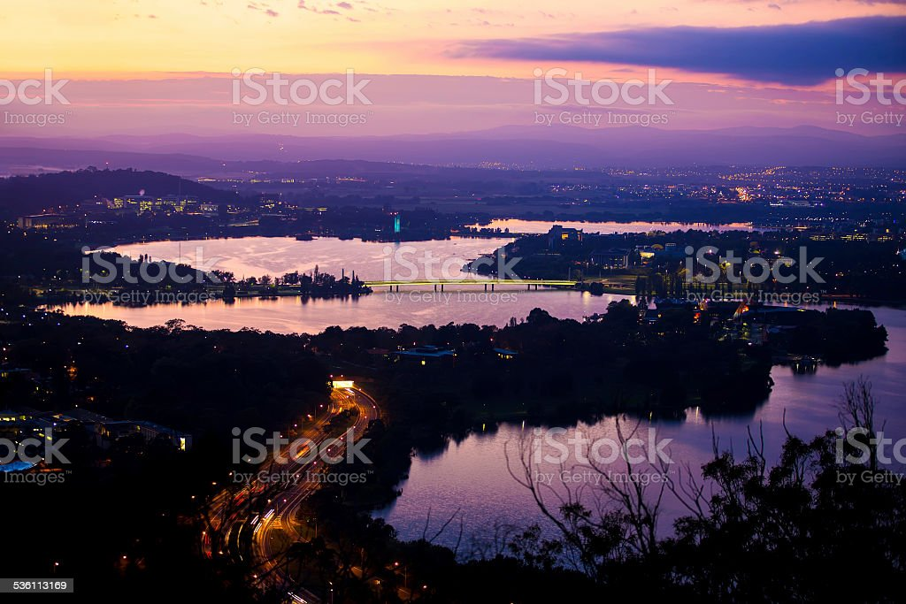 Canberra City And Lake Burley Griffin At Dawn stock photo