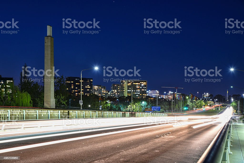 Canberra, city, buildings, night, traffic stock photo