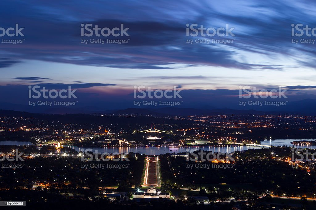 Canberra from high view point during dusk stock photo
