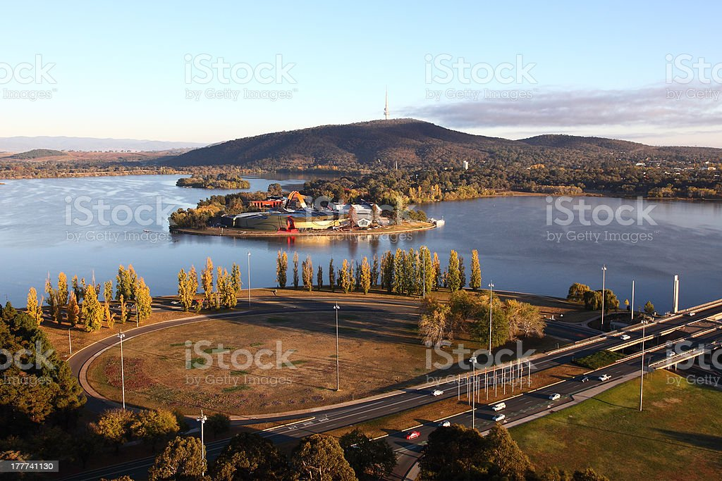 Canberra from the air stock photo