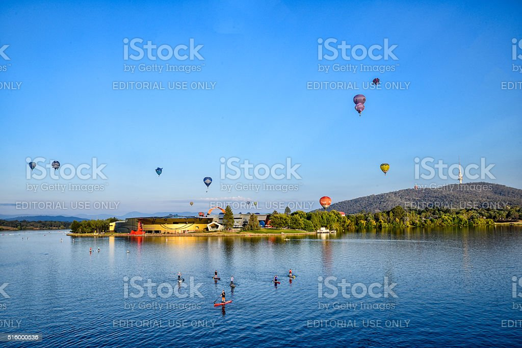 "Canberra, Hot Air Balloon, Australia, Lake, Sunrise,€"" Dawn, city stock photo"