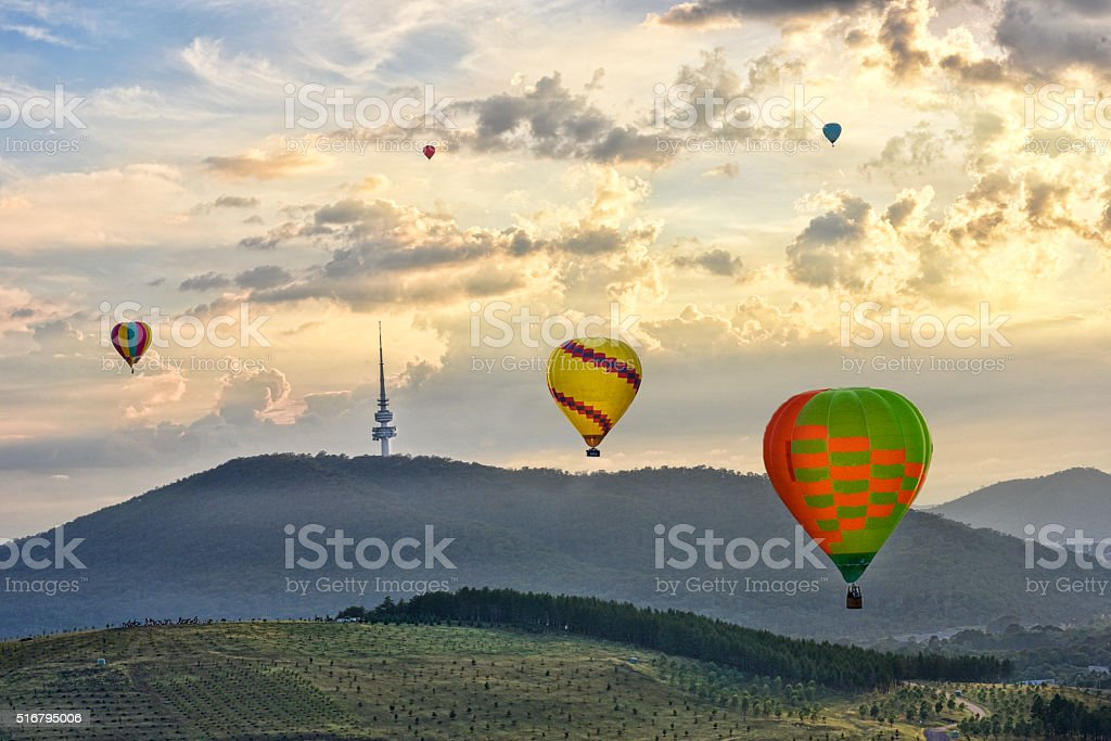 Canberra, Hot Air Balloon, Australia, Lake, Sunrise, Dawn, city stock photo