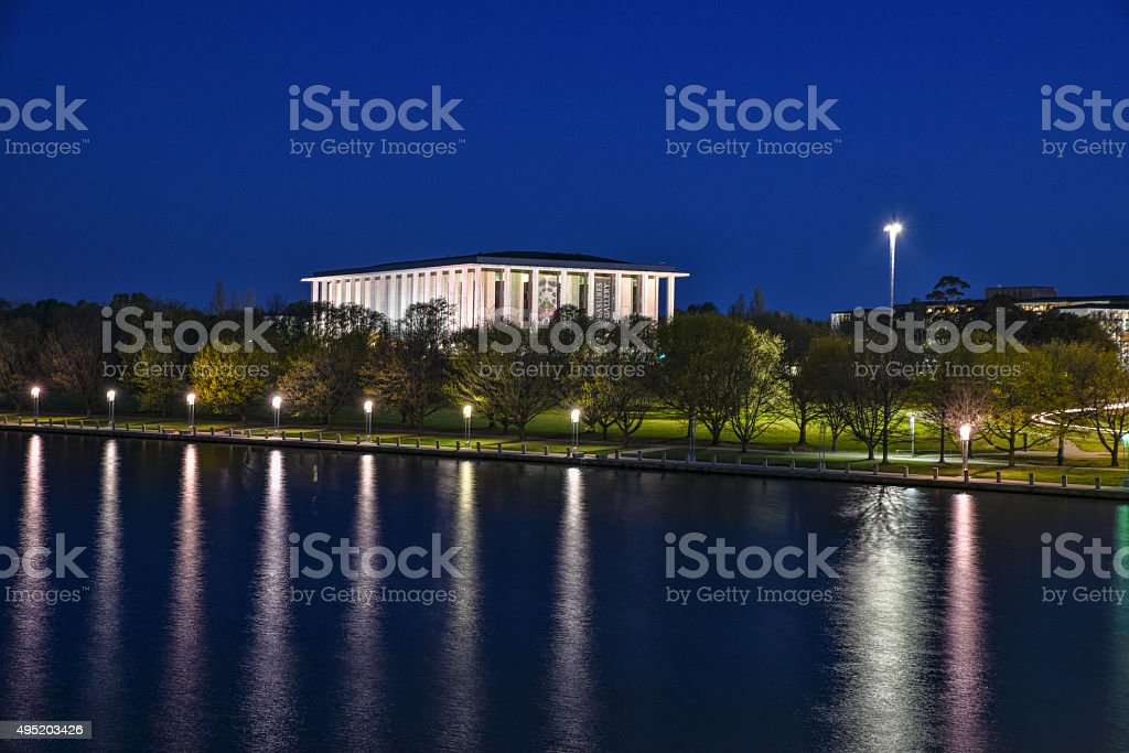 Canberra, National Library, night, lake stock photo