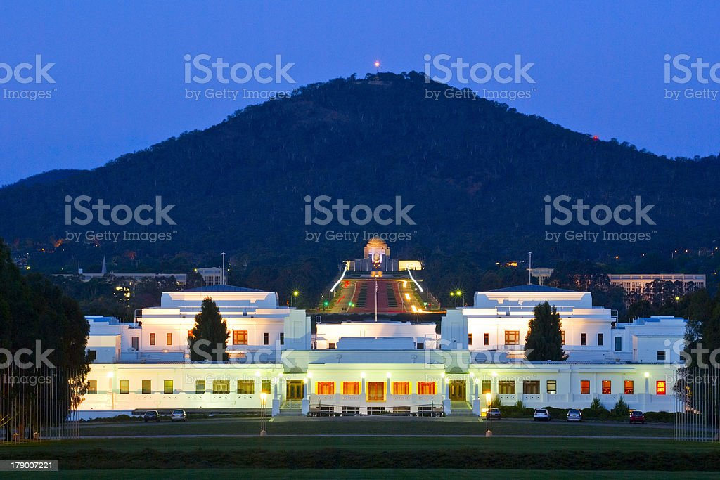 Canberra Old Parliament House and Australian War Memorial at Twilight stock photo