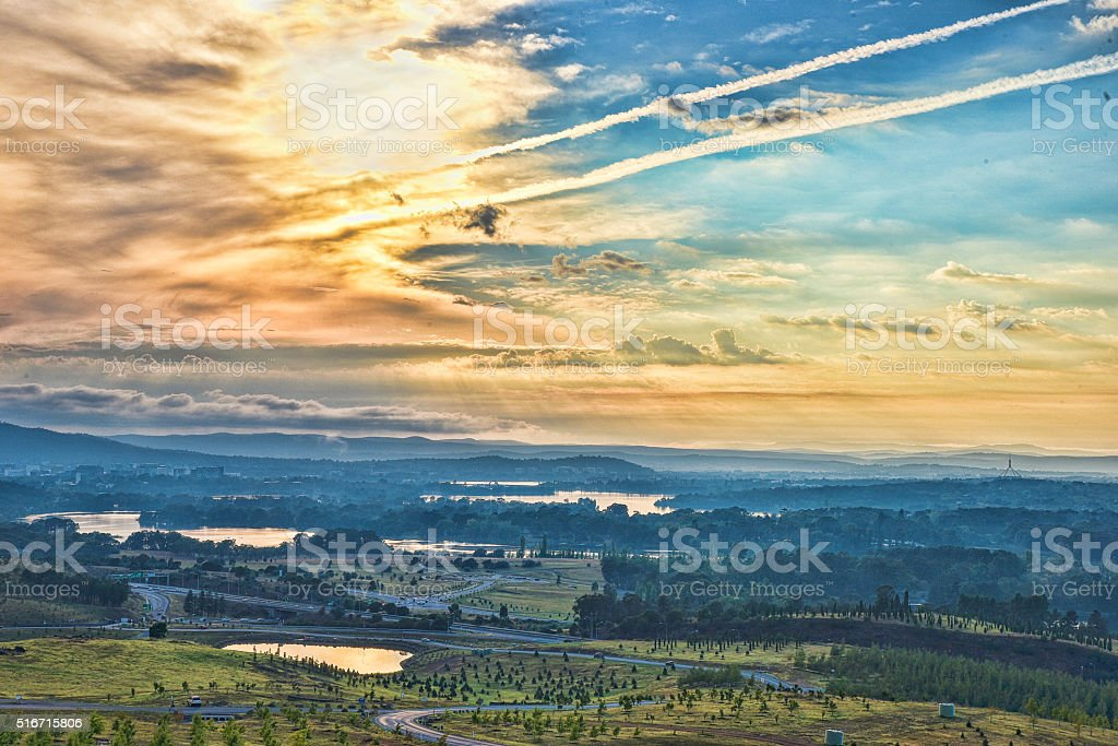 Canberra, panorama, arboretum, Australia, Lake, Sunrise, Dawn, city stock photo