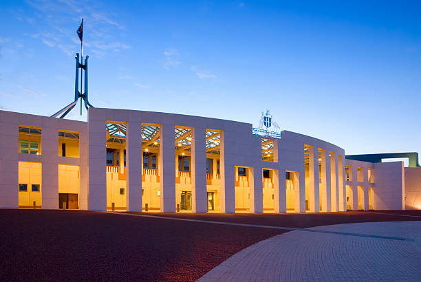 Canberra Parliament House at Twilight stock photo