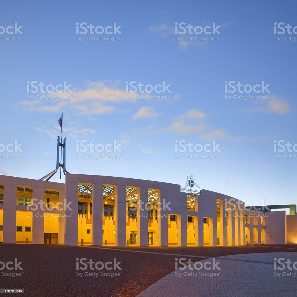 Canberra Parliament House Australia Twilight Square stock photo