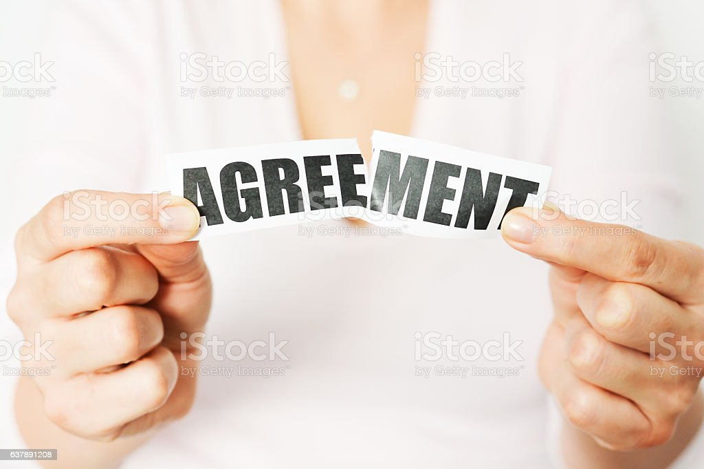 Cancel an agreement or dismiss a contract concept stock photo