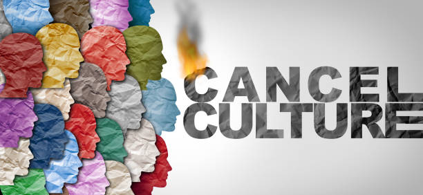 Cancel Culture Idea Cancel culture symbol or cultural cancellation and social media censorship as canceling or restricting opinions that are offensive or controversial to the public with 3D illustration elements. facebook boycott stock pictures, royalty-free photos & images