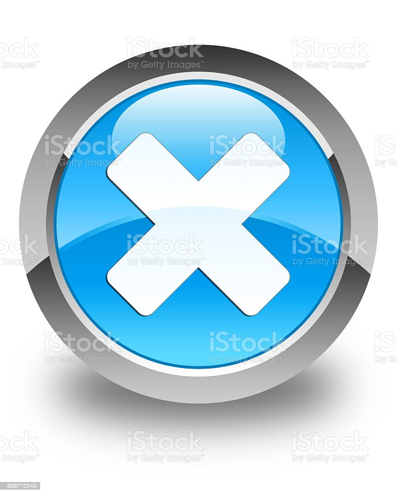 Cancel Icon Glossy Cyan Blue Round Button Stock Photo ...
