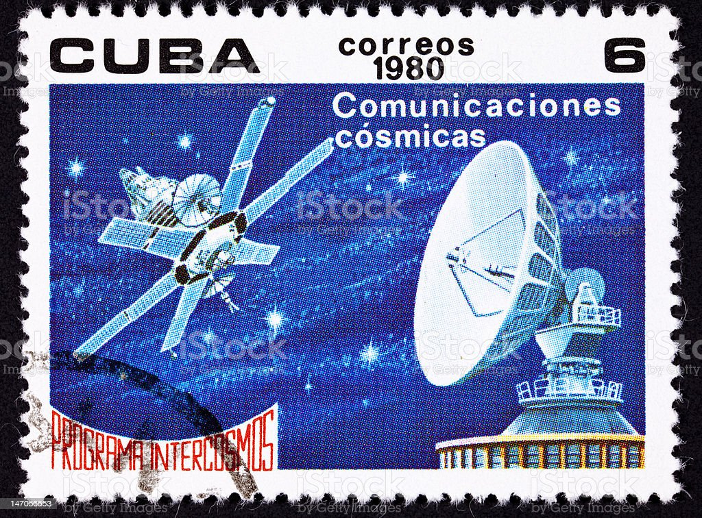 Canceled Cuban Postage Stamp Satellite Dish Communication, Outer Space Stars royalty-free stock photo