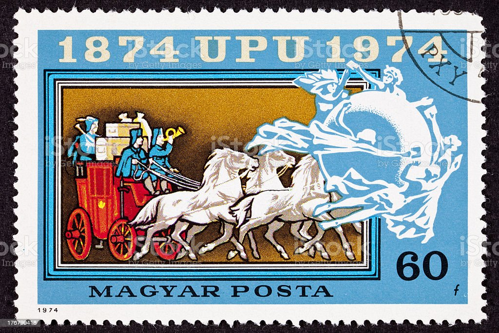 Canceled Hungarian Postage Stamp Mail Delivery Stagecoach Universal Postal Union royalty-free stock photo