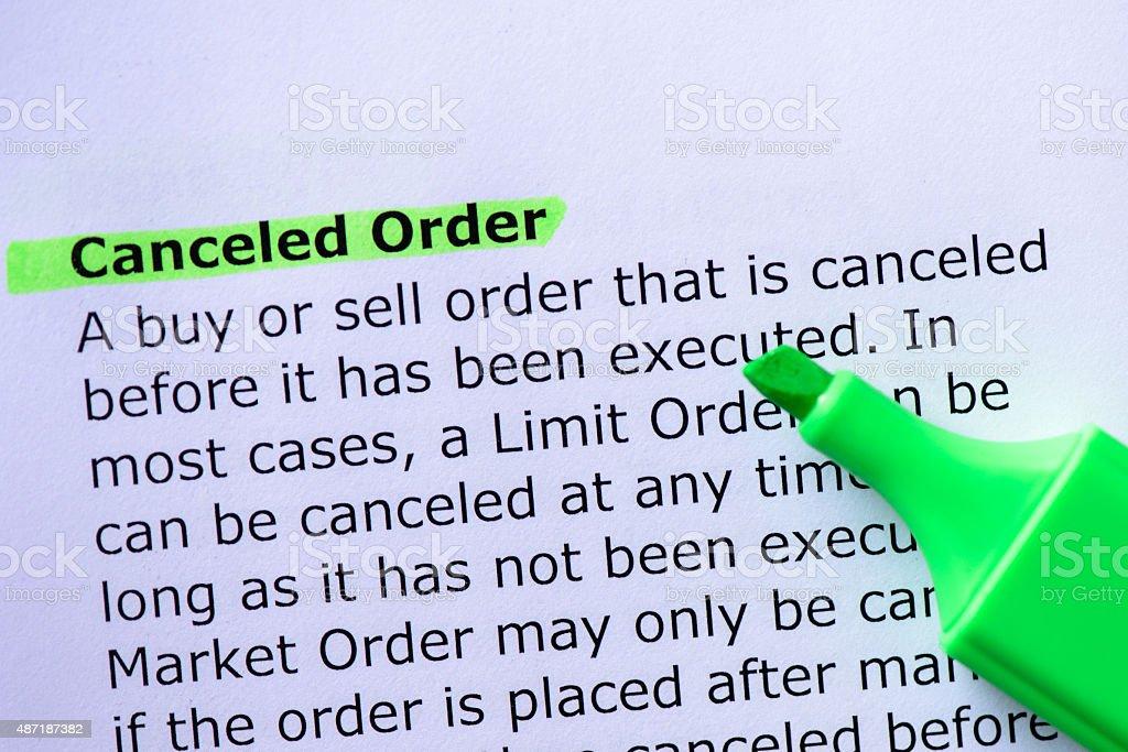 Canceled Order stock photo