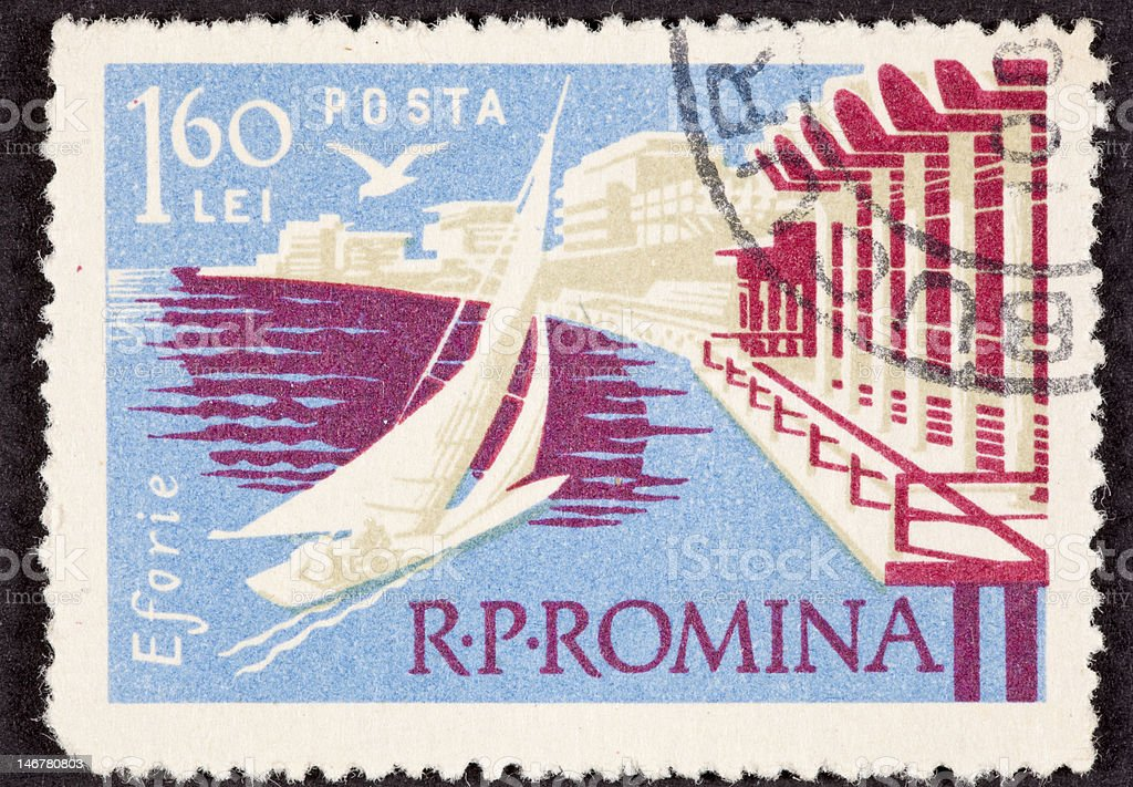 Canceled Postage Stamp Sailboat Sailing Eforie, Romania Black Sea royalty-free stock photo