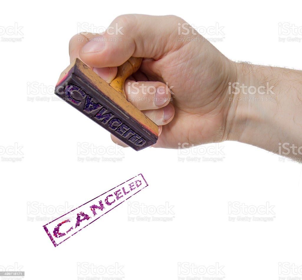 Canceled sign form stamp stock photo
