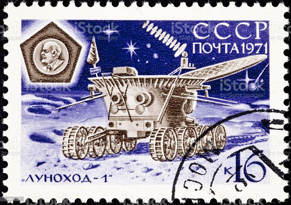 Canceled Soviet Russia Postage Stamp Lunokhod Moon Explorer Probe, Луноход stock photo