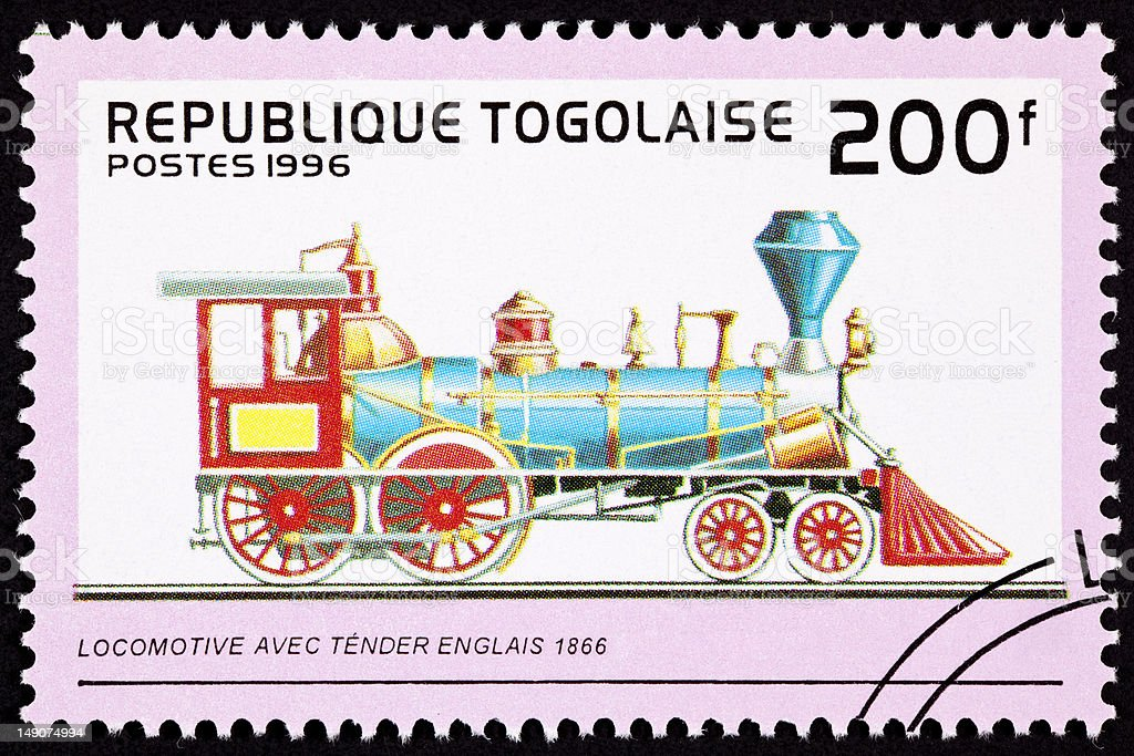 Canceled Togo Postage Stamp Old English Railroad Steam