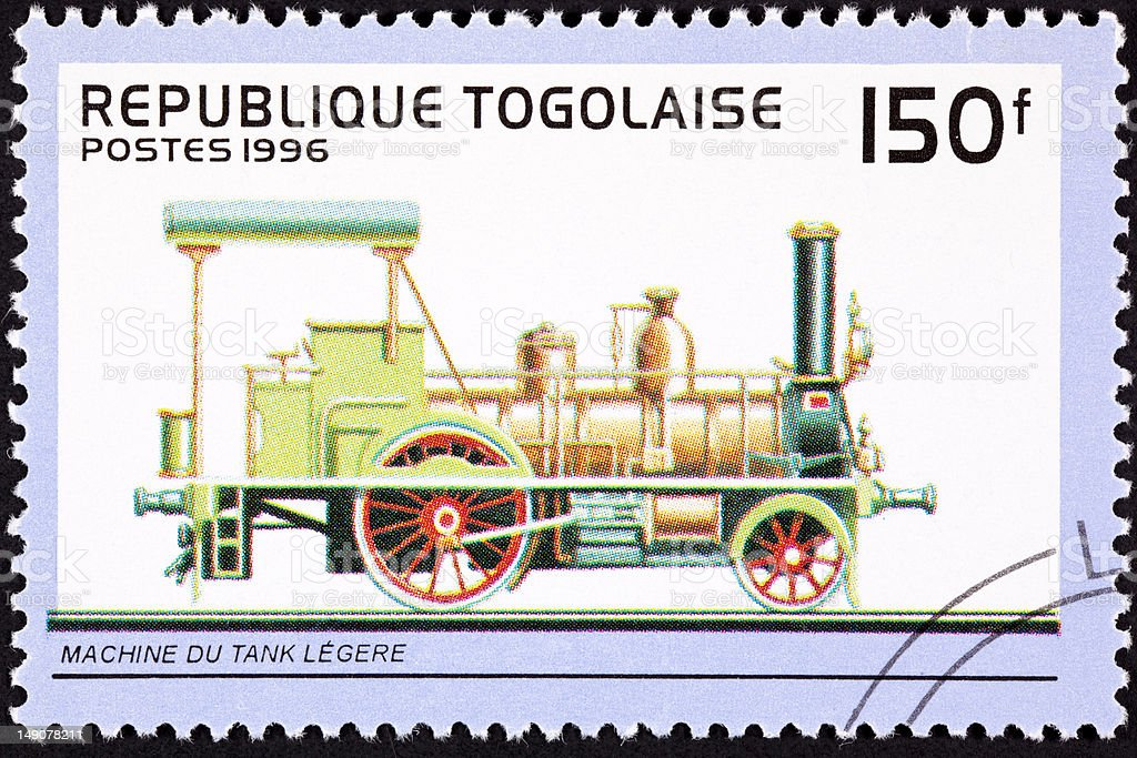 Canceled Togo Postage Stamp Old Railroad Steam Engine Locomotive Train royalty-free stock photo