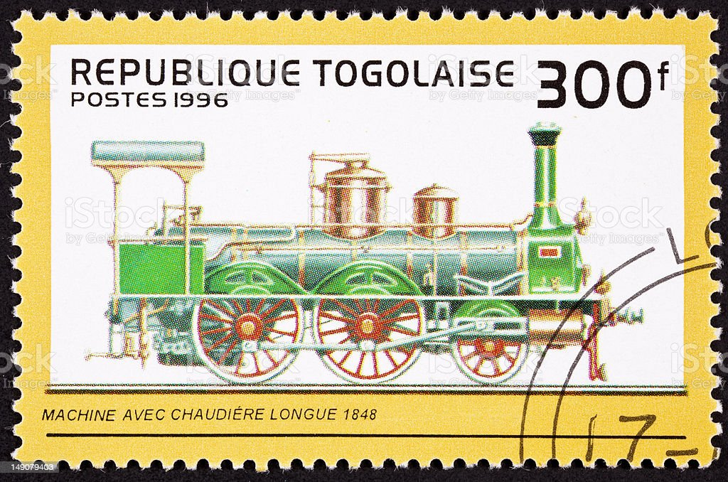 Canceled Togo Postage Stamp Old Railroad Steam Engine Long Boiler royalty-free stock photo