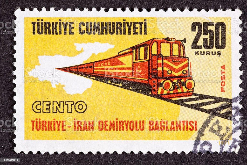 Canceled Turkish Postage Stamp Regional Cooperation Turkey Iran Railroad Link royalty-free stock photo