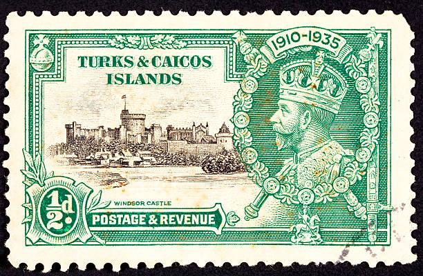 Canceled Turks Caicos Postage Stamp King George V Windsor Castle stock photo