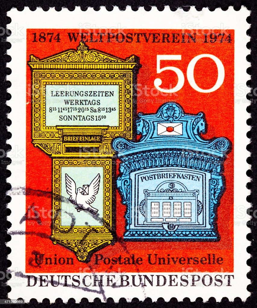 Canceled West Germany Postage Stamp Ornate Traditional Mailboxes Bundespost stock photo