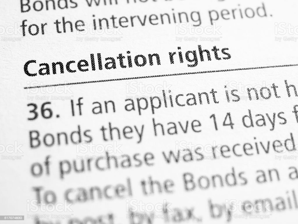 Cancellation rights stock photo