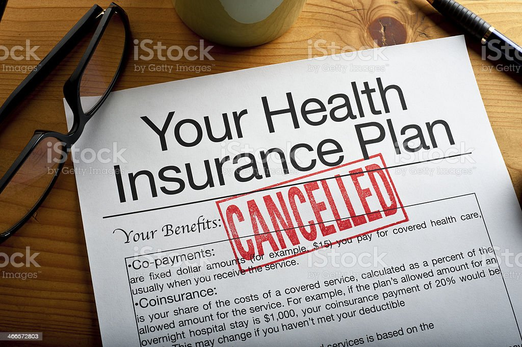 Cancelled Health Insurance Plan stock photo