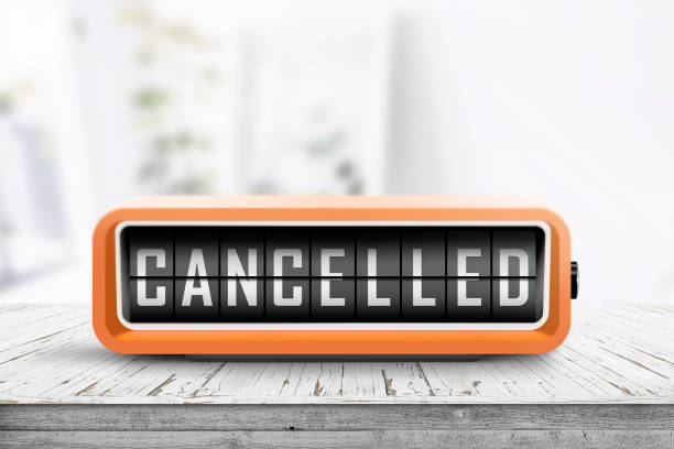 Cancelled message on a retro alarm clock stock photo