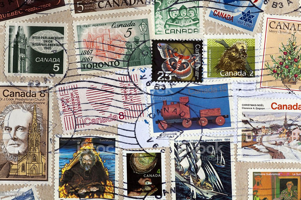 cancelled old postage stamps canada stock photo