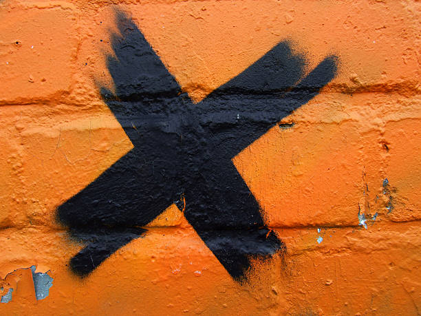 Cancelled orange wall stock photo