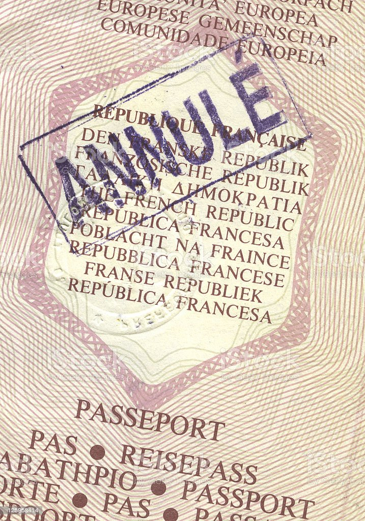Cancelled passport high definition stock photo