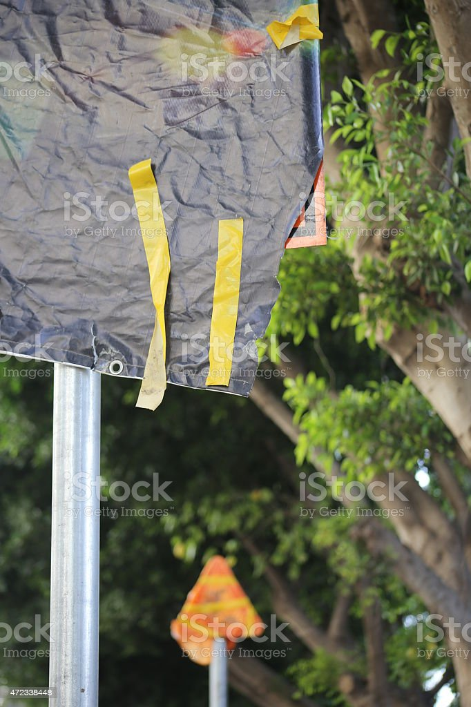 Cancelled Road Working Signs. stock photo