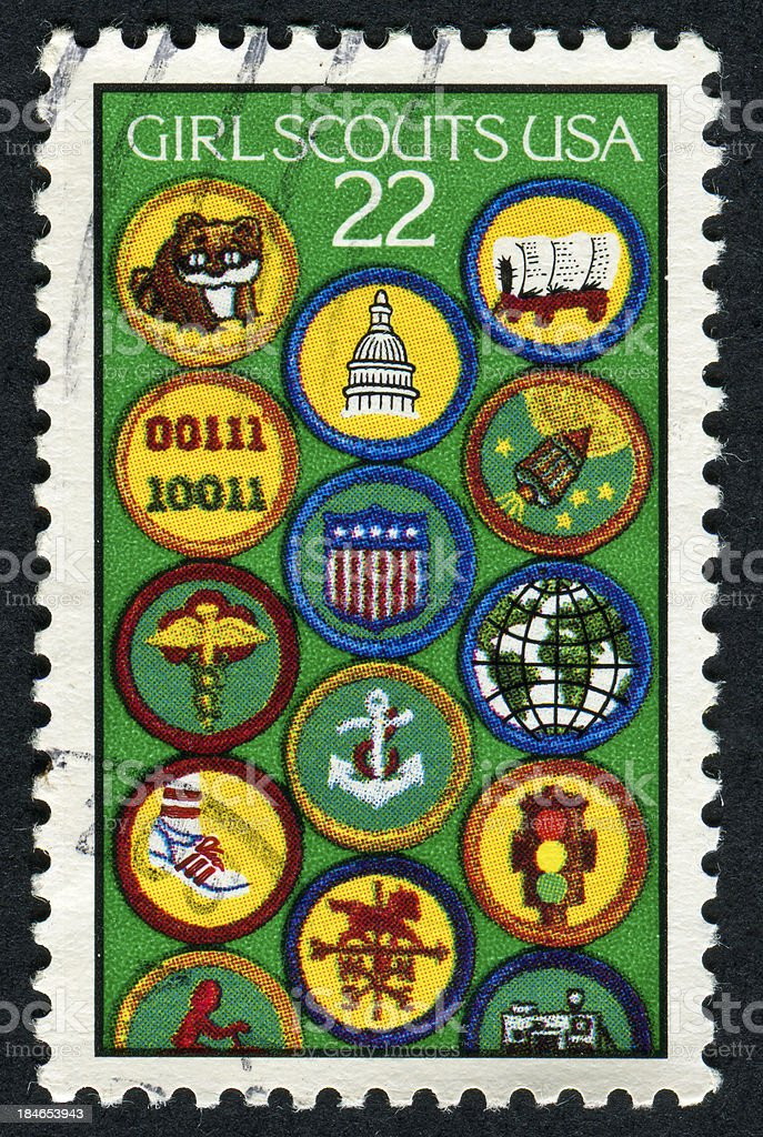 Cancelled Stamp Of The Girl Scouts USA stock photo