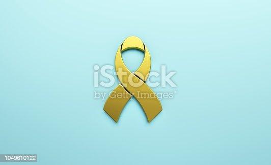 istock Cancer Awareness Golden Ribbon in Light blue background. 3D Render illustration 1049610122
