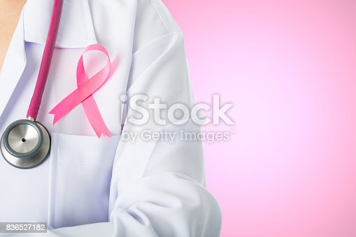 istock Cancer awareness medical stick ribbon for healthcare 836527182