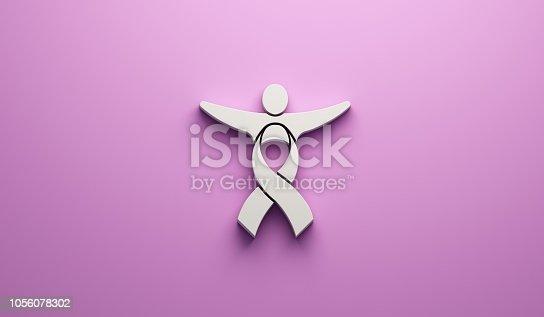 istock Cancer Awareness People Ribbon pink background. 3D Render illustration 1056078302