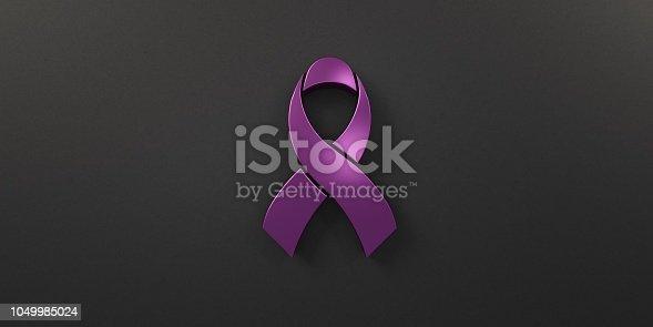 istock Cancer Awareness Pink Ribbon in black background. 3D Render illustration 1049985024