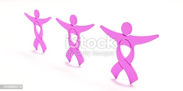 istock Cancer Awareness Pink Ribbon People in white background. 3D Render illustration 1049985018