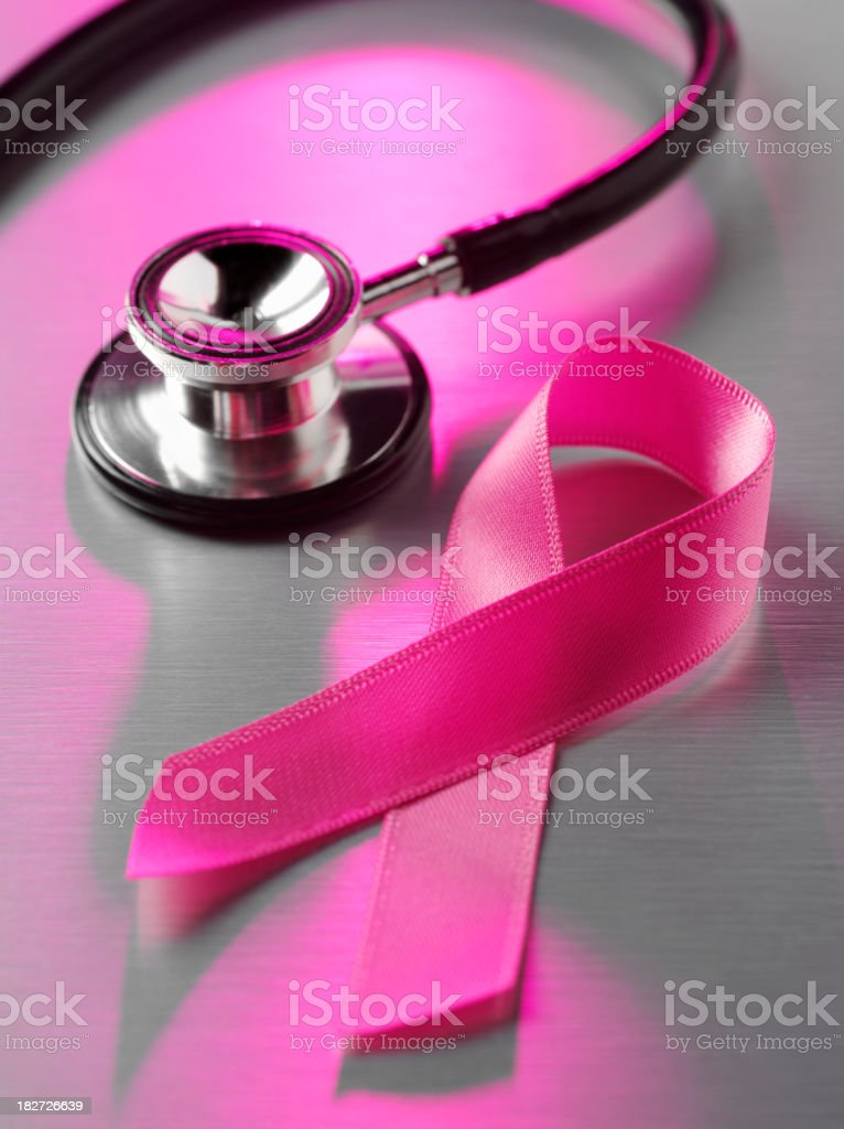 Cancer Awareness Ribbon on Stainless Steel royalty-free stock photo