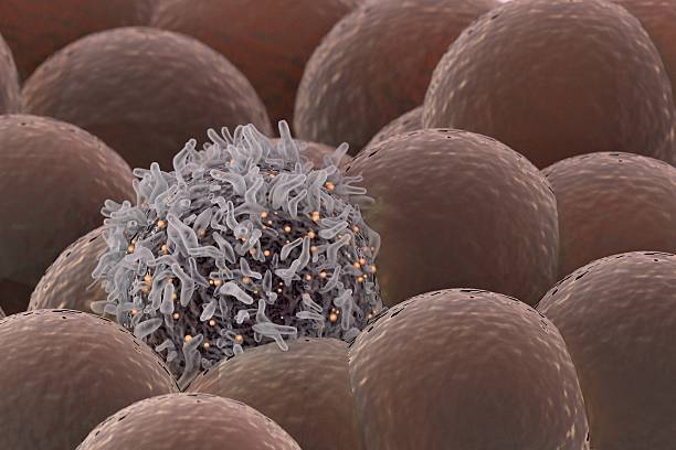 Cancer Cell Among Healthy Cells stock photo