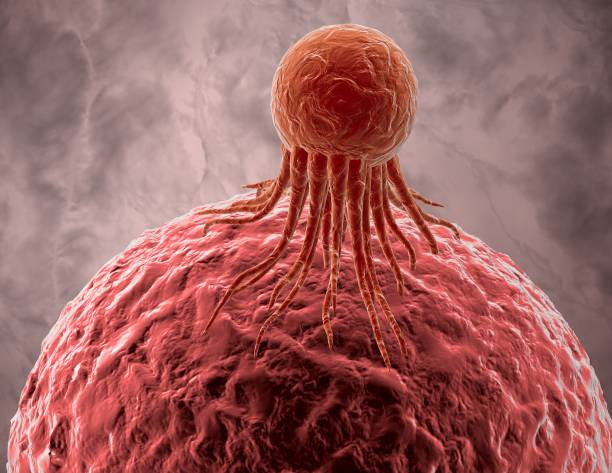 Cancer cell attacking healthy cell, illness concept illustration. stock photo