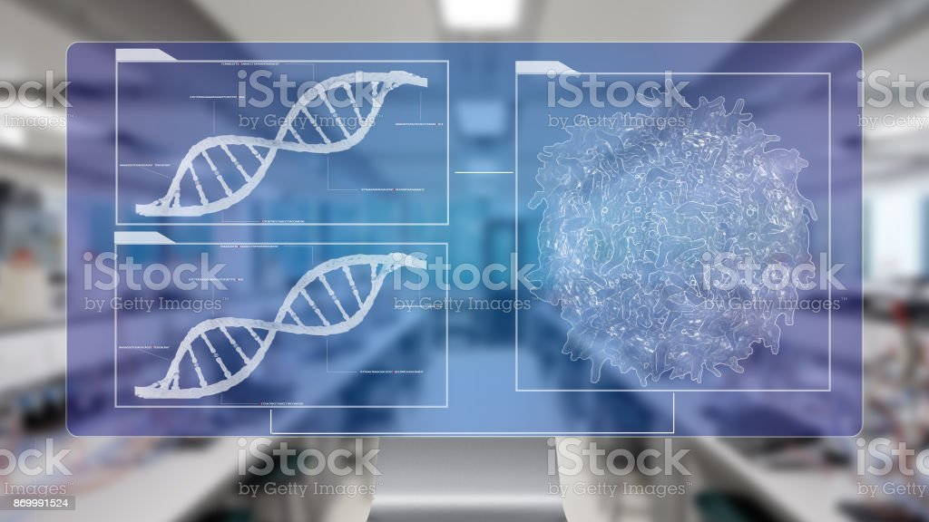 cancer cell lymphocyte T and DNA helix background sequencing stock photo
