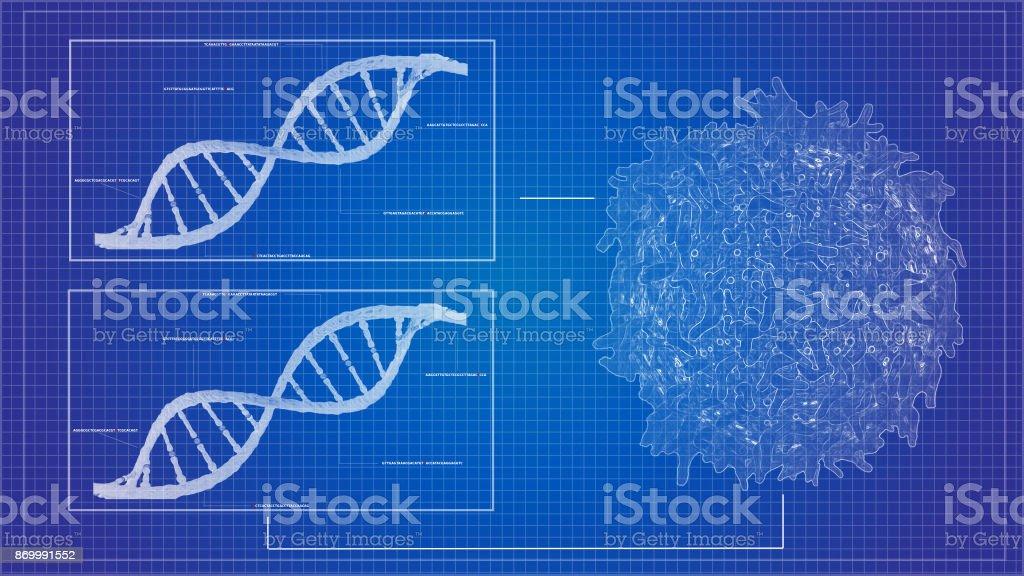 cáncer células linfocito T y secuencia de fondo de la hélice de DNA - foto de stock
