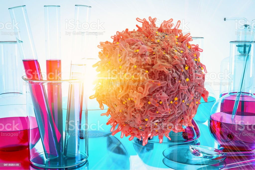 Cancer Cell Oncology Research Concept Gene Therapy for Cancer Treatment Concept Cancer therapy with T-cell Cure Oncology heal remission stock photo
