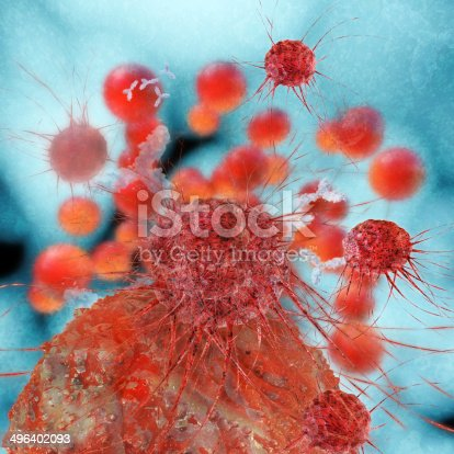 istock Cancer cells - 3d rendered illustration 496402093